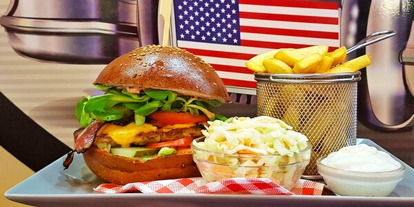 Kuřecí i vege burger dle výběru s hranolky i dipem