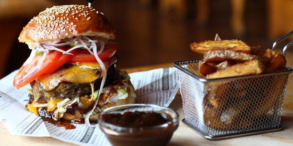 Burger s hovězím masem, výběr ze 3 druhů