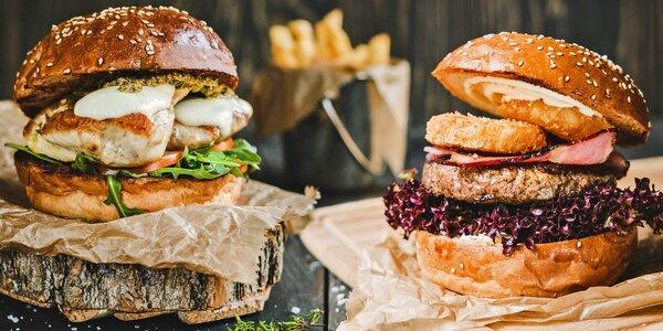 Hamburger podle výběru z 10 druhů a příloha