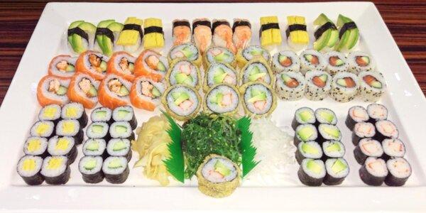 48 nebo 70 ks sushi s lososem, tuňákem i avokádem