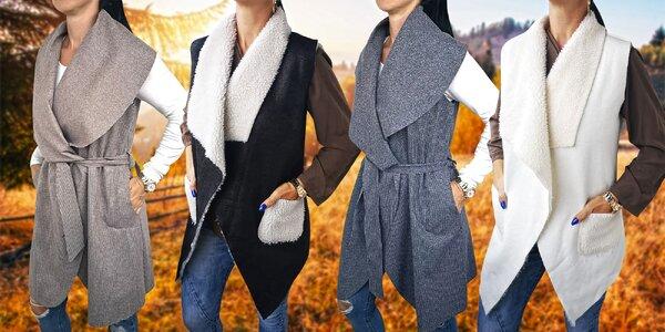 Elegantní dámské vesty s páskem i beránkem