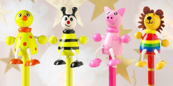 Dřevěné tužky pro děti: prasátko, včelka i myš