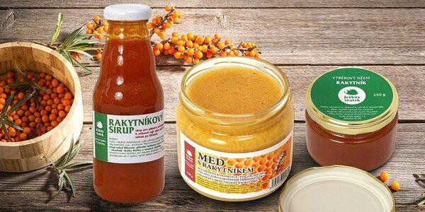 Rakytníkový set proti nachlazení: sirup, džem, med