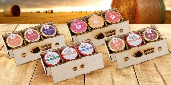 Dárkové krabičky z Ježkova statku: džemy i paštiky