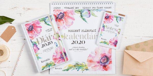 Kreativní set 2020: rodinný kalendář, diář i notes