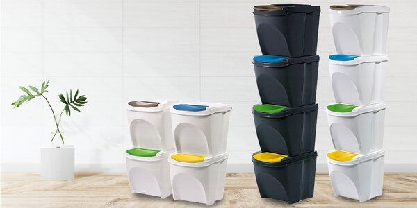 Koše na tříděný odpad: 4× 20 litrů, ve tmavé i bílé