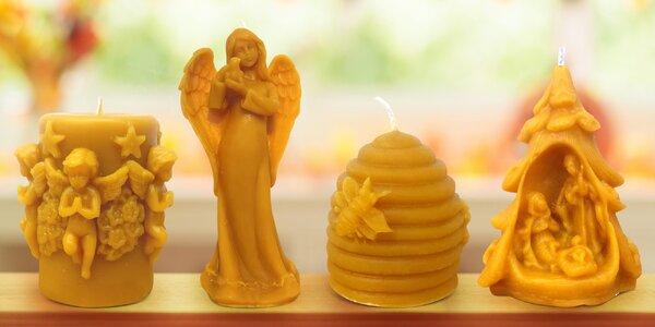 Svíčky ze včelího vosku a srdce z parafínu