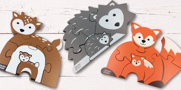 Dřevěné puzzle ve tvaru zvířátek pro děti od 3 let