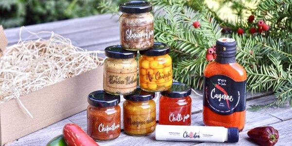 Balíčky omáček a šťáv z nejpálivějších papriček