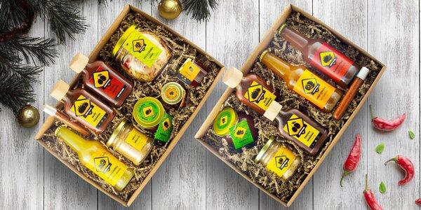 Košíky chilli dobrot: omáčky, nápoje i med