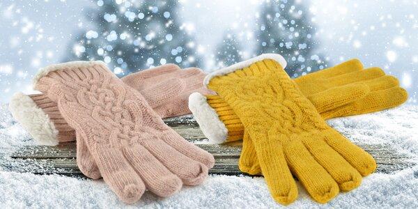 Dámské rukavice s pleteným vzorem a ovčí vlnou