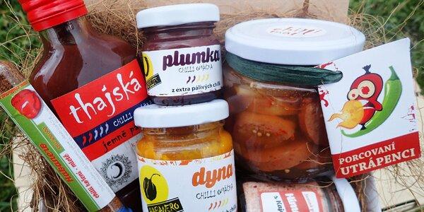 Dárkové chilli balíčky: omáčky i sušené papričky