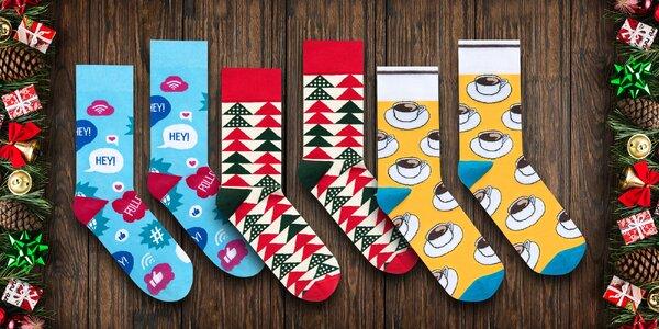 Unisex ponožky s veselými vzory včetně vánočních
