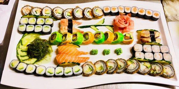 24–62 ks sushi: vege, s lososem i krevetami