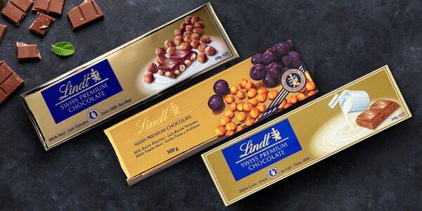 300g švýcarské čokolády Lindt různých příchutí
