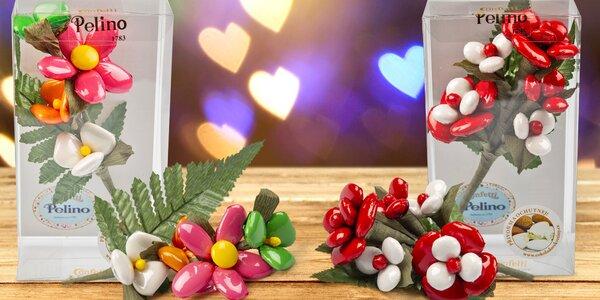 Valentýnské květiny z čokolády a mandlí