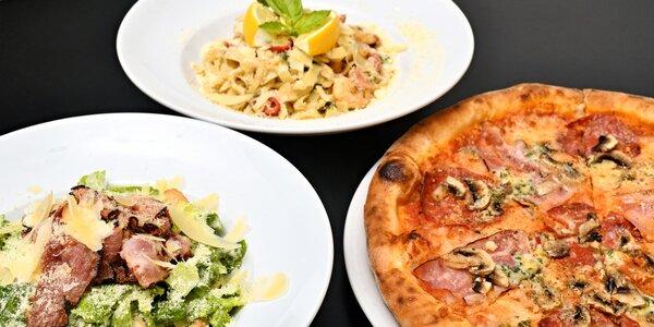 Dvě italská jídla dle výběru: pizzy, pasta, saláty