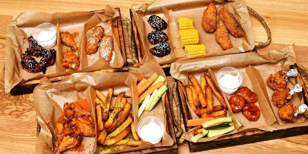 Až 100 kuřecích křídel a hranolky, dipy i zelenina
