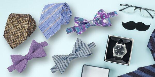 Pánské vázací motýlky a kravaty s různými vzory