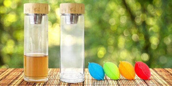 Zenová láhev ze skla s jemným sítkem na čaj