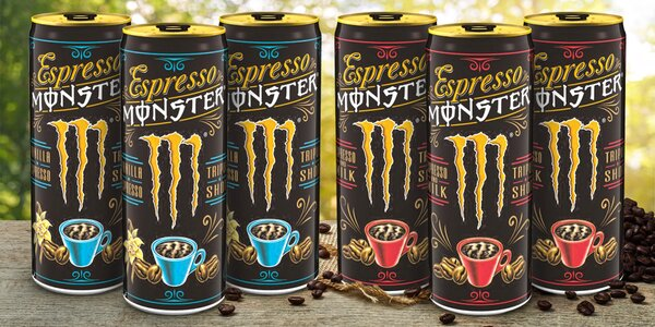Energy drinky Monster s příchutí espressa