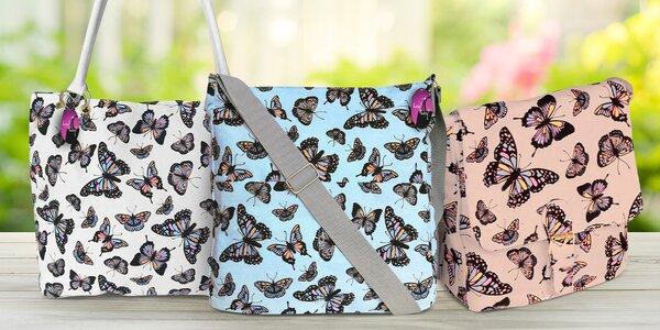 Látkové tašky s motýlky, více druhů a barev