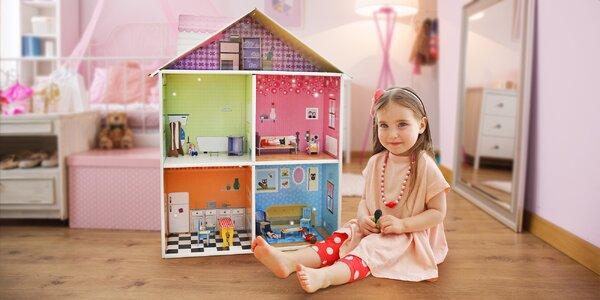 Skládací hrací dům s nábytkem a zařízením pro děti
