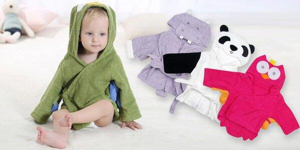 Dětské župany z bavlny: sova, hroch, panda i myš