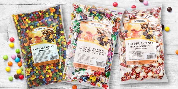 Čokoládové dražé a barevné minibonbonky Pohoda