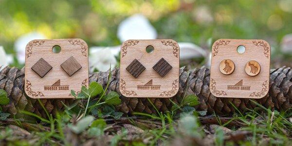 Dřevěné peckové náušnice: eben, švestka i ořech