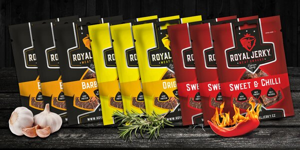 9 balíčků Royal Jerky z prémiového hovězího