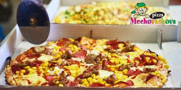 Dvě Mechováčkovy pizzy s rozvozem: výběr z 15 druhů