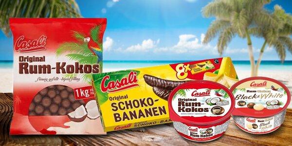 Sladký mls Casali: čokobanánky, kuličky rum-kokos