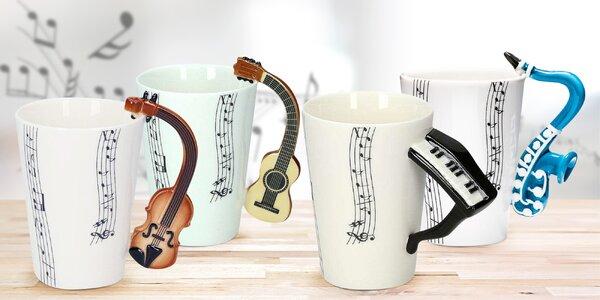 Ručně malované hudební hrnky: 5 různých nástrojů