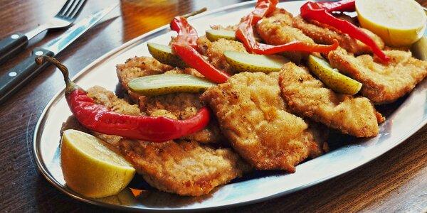 500 g nebo 1 kg smažených řízků: kuřecí, vepřové i mix