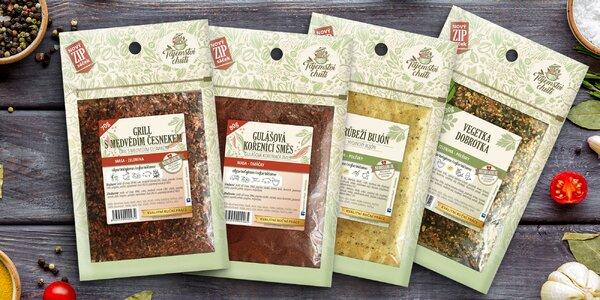 Koření: bylinky, gril, vegeta, bujon i guláš