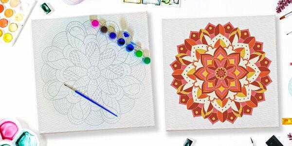 Kreativní sady: mandala na plátně, barvy i štětce
