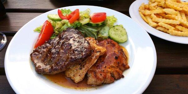 3 druhy steaků, salát, hranolky a dezert pro dva