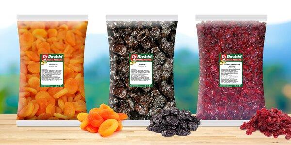 Balíčky sušeného ovoce: švestky, brusinky i zázvor
