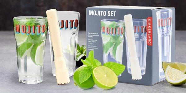 Set na mojito i jiné drinky: sklenice a palička