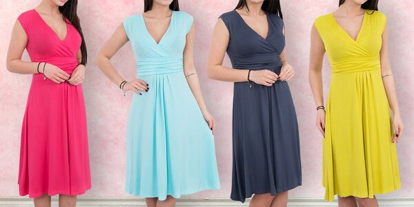 Šaty bez rukávů s nařaseným dekoltem - 13 barev