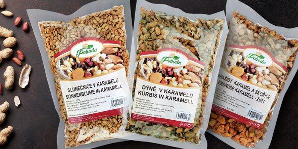 Ochucené kešu, arašídy, mandle i pekanové ořechy