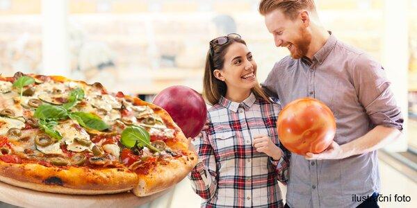 Bowling na hodinu a pizza pro partu i rodinu