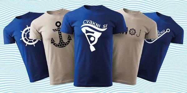 Vodácká trička s kotvou, kormidlem a nápisy