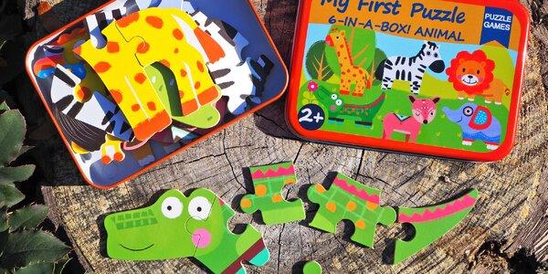 Moje první puzzle 6 v 1 v plechové krabičce