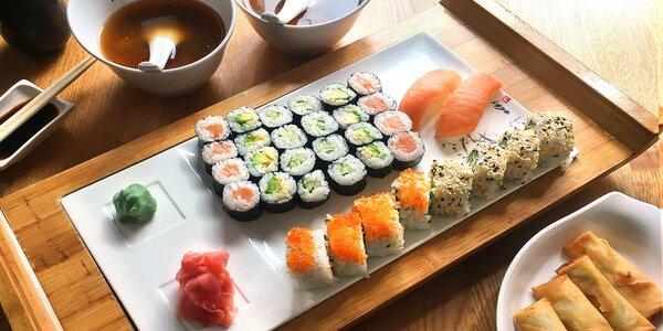 Sushi menu i s polévkou nebo minizávitky