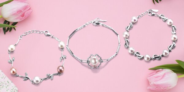 Stříbrné náramky s pravými říčními perlami