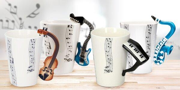 Ručně malované hudební hrnky: 4 různé nástroje