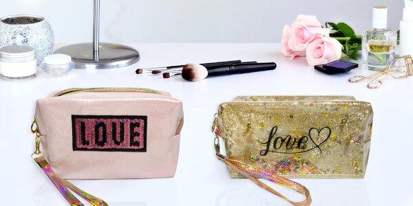 Kosmetické taštičky s flitry a nápisem Love