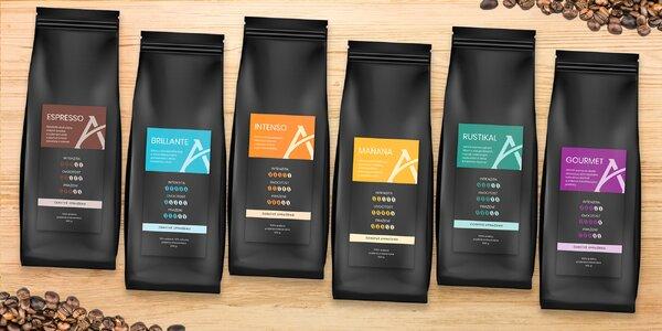 250g balení mletých i zrnkových káv Alesio